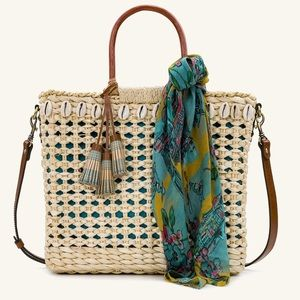 PATRICIA NASH Ceriana Straw Tote with Dust Cover